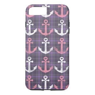Coque iPhone 7 Plus Motif pourpre rose nautique d'ancres de plaid
