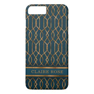 Coque iPhone 7 Plus Motif turquoise géométrique chic de trellis d'or