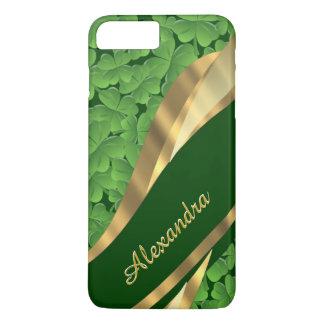 Coque iPhone 7 Plus Motif vert irlandais personnalisé de shamrock