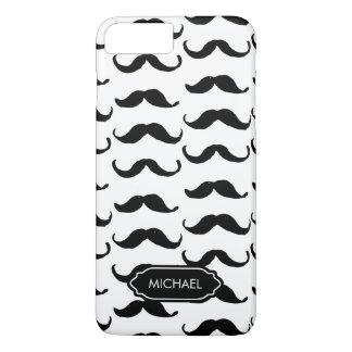Coque iPhone 7 Plus Moustache blanche noire tirée par la main drôle