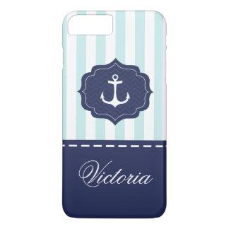 Coque iPhone 7 Plus Nom en bon état nautique de coutume d'ancre de
