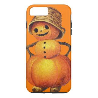 Coque iPhone 7 Plus Orange de sourire de bonhomme de neige de