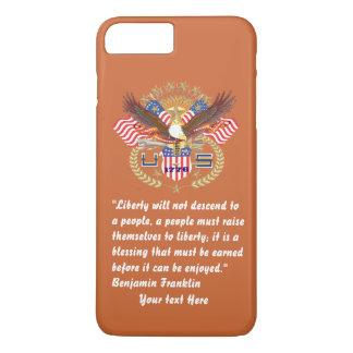 Coque iPhone 7 Plus Paix patriotique de liberté rouge-brun