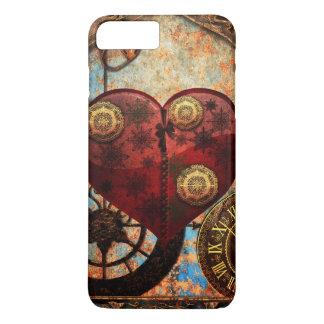 Coque iPhone 7 Plus Papier peint vintage de coeurs de Steampunk