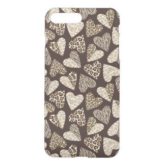 Coque iPhone 7 Plus Peau d'animal avec des coeurs