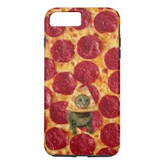 Coque iPhone 7 Plus Pizza de pepperoni et chat fous de pizza
