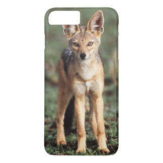 Coque iPhone 7 Plus Portrait de chacal à dos noir