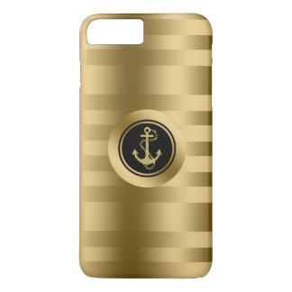 Coque iPhone 7 Plus Rayures d'or avec l'ancre nautique