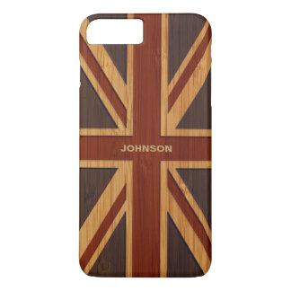 Coque iPhone 7 Plus Regard en bambou et drapeau BRITANNIQUE vintage