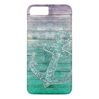 Coque iPhone 7 Plus Regard pourpre nautique Girly d'ancre et en bois
