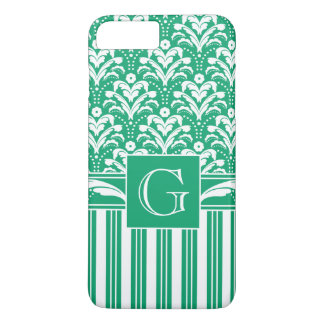 Coque iPhone 7 Plus Rétro damassé florale assez vert clair