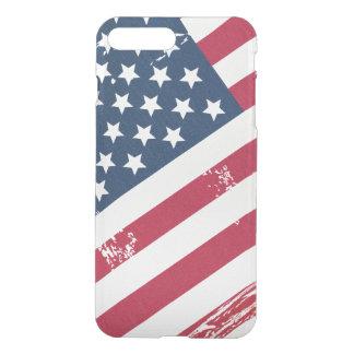 Coque iPhone 7 Plus Rétro vieux regard grunge affligé de drapeau