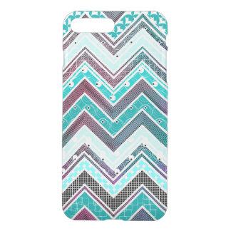 Coque iPhone 7 Plus Turquoise d'illusion, menthe et motif blanc de