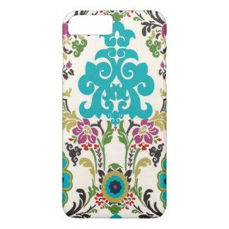 Coque iPhone 7 Plus Turquoise florale de prune de motifs de damassé