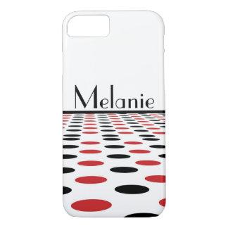 Coque iPhone 7 Points rouges et noirs modernes sur le blanc