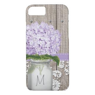 Coque iPhone 7 Pot de maçon décoré d'un monogramme d'hortensia