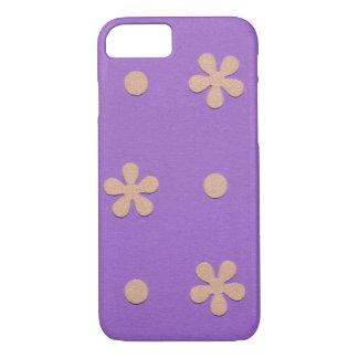 Coque iPhone 7 Pourpre avec les fleurs jaunes et la conception de
