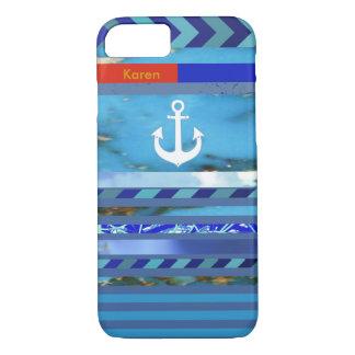 Coque iPhone 7 rayures, ancre et nom bleus de turquoise
