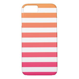 Coque iPhone 7 Rayures blanches roses oranges de très bon goût