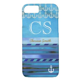 Coque iPhone 7 rayures bleues, ancres, nom et initiales