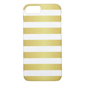Coque iPhone 7 Rayures chics de scintillement de blanc et d'or