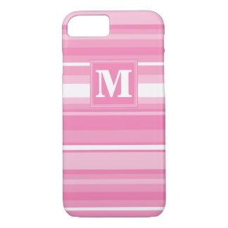 Coque iPhone 7 Rayures roses de monogramme