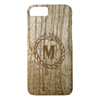 Coque iPhone 7 Regard occidental de corde en bois n de monogramme