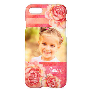 Coque iPhone 7 Roses et rayures roses et jaunes d'aquarelle