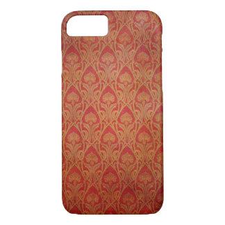 Coque iPhone 7 Rouge et damassé de Nouveau d'art d'or