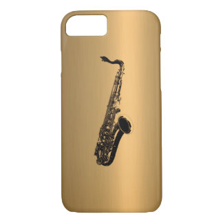 Coque iPhone 7 Saxophone sur l'effet de cuivre en bronze