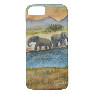 Coque iPhone 7 Scène d'éléphant de coucher du soleil de safari