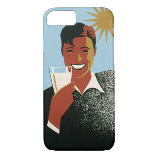 Coque iPhone 7 Soleil de sourire de cocktails de boissons d'homme
