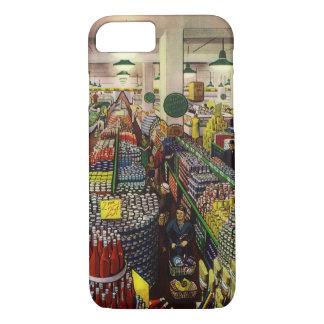 Coque iPhone 7 Supermarché vintage, nourriture et boissons