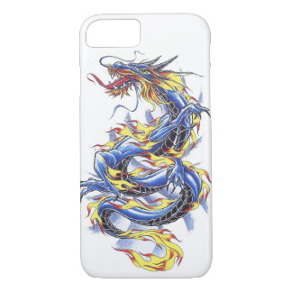 Coque iPhone 7 Tatttoo bleu japonais oriental frais de dragon