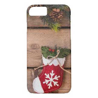 Coque iPhone 7 Texture en bois de Joyeux Noël de bas de Noël