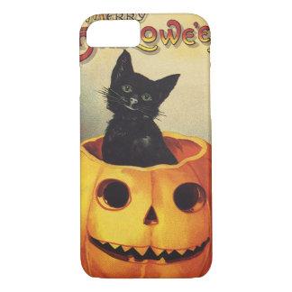 Coque iPhone 7 Un joyeux Halloween, chat noir vintage en