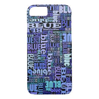 Coque iPhone 8/7 Amants bleus, motif bleu sur le noir,