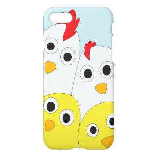Coque iPhone 8/7 Arrière - plan bleu de famille de poulet brillant