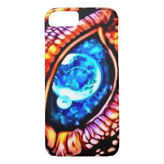 Coque iPhone 8/7 Art cosmique d'aerographe d'oeil de dragon