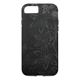 Coque iPhone 8/7 art noir de vecteur de remous de fleurs