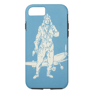 Coque iPhone 8/7 Art vintage de pilote et d'avion