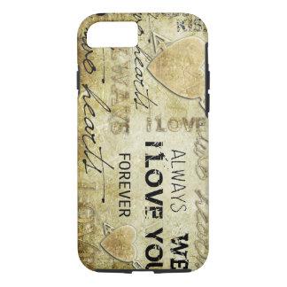 Coque iPhone 8/7 art vintage de vecteur d'amour