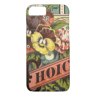 Coque iPhone 8/7 Art vintage d'étiquette de paquet de graine, les