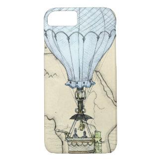 Coque iPhone 8/7 Ballon à air chaud grunge de Steampunk avec la