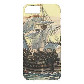 Coque iPhone 8/7 Bateau de pirate vintage, navigation de galion sur