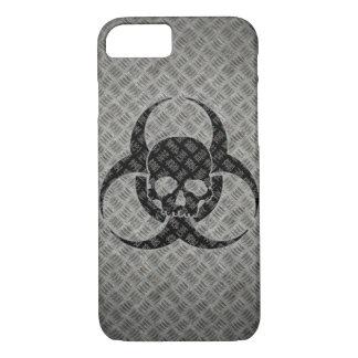 Coque iPhone 8/7 Bio symbole grunge de risque sur l'acier
