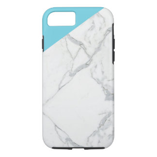 Coque iPhone 8/7 Bleu glacier et couverture d'iphone de marbre