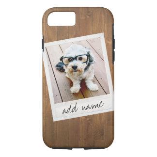 Coque iPhone 8/7 Bois rustique avec le cadre carré de photo