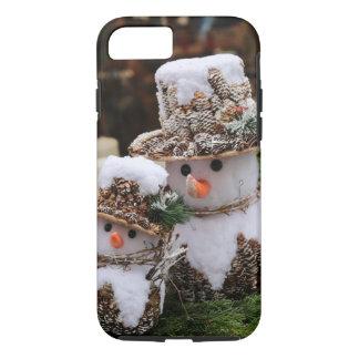 Coque iPhone 8/7 Bonhommes de neige utilisant le casquette de