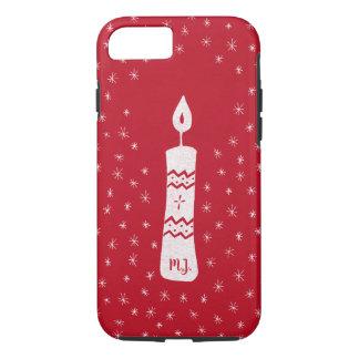 Coque iPhone 8/7 Bougie de Noël avec les étoiles de scintillement